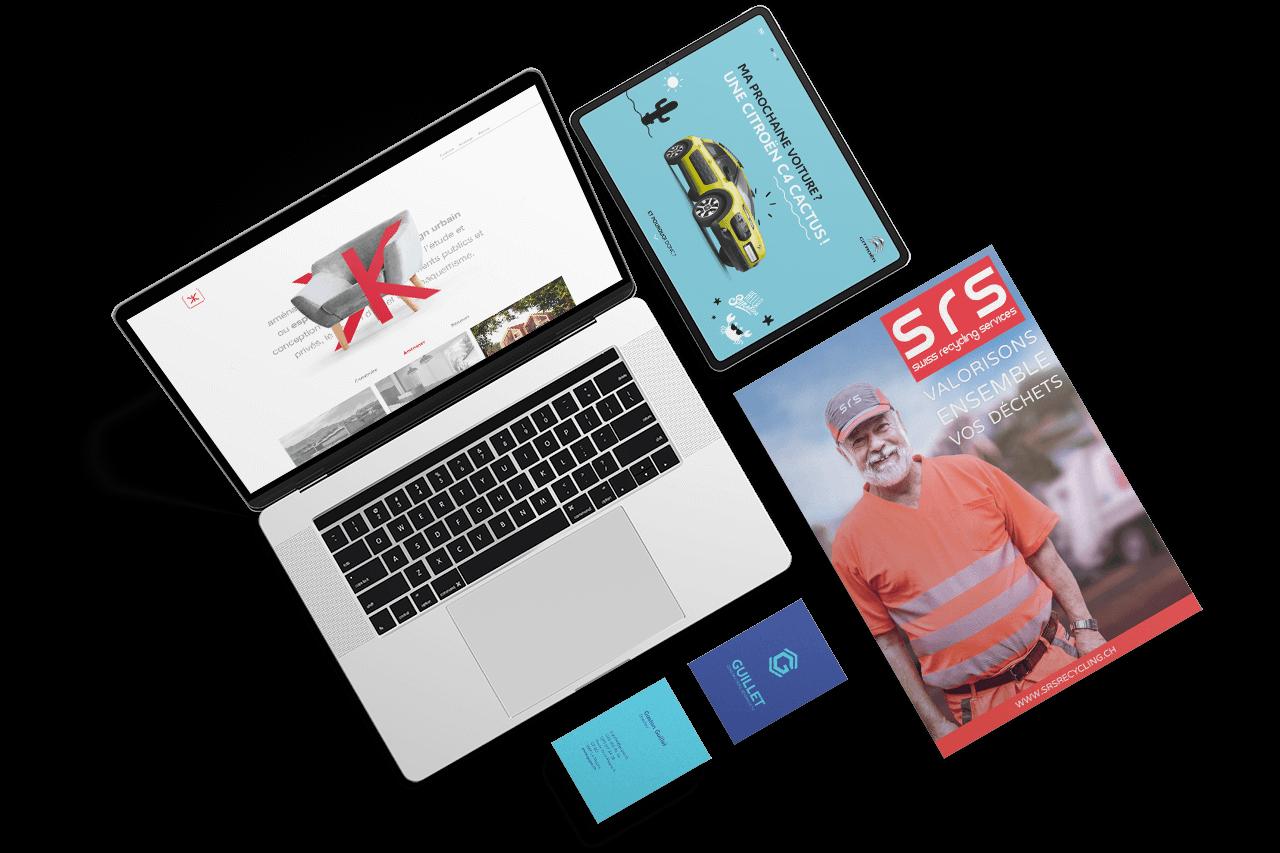 Ordinateur avec création de site, tablette avec site responsive, carte de visite et brochures réalisés par l'agence de communication igeneve